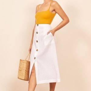 NWT Reformation Highland White Linen Midi Skirt